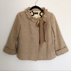 [J Crew] Brown Cheshire Wool Coat Jacket Size 8P